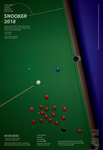 Snooker Championship Poster Design Template Ilustração Vetor