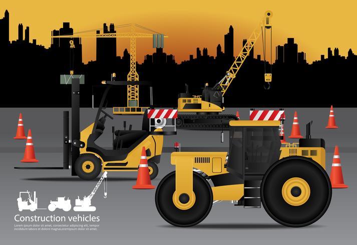 Conjunto de veículos de construção com ilustração em vetor de fundo de construção