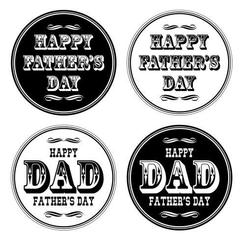 dia dos pais feliz ornado tipografia preto branco círculos vetor