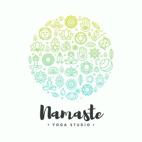 conceito de vetor de símbolos de logotipo de ioga