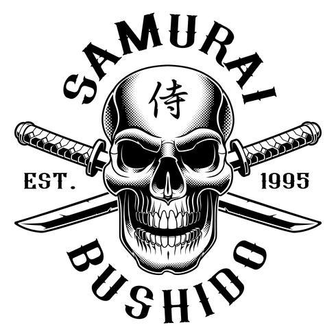 Crânio com katana (em fundo branco) vetor