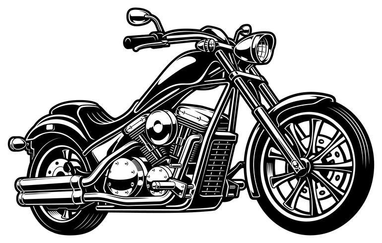 Motocicleta monocromática vintage em bakcground branco vetor