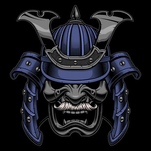 Máscara de guerreiro samurai com bigode vetor