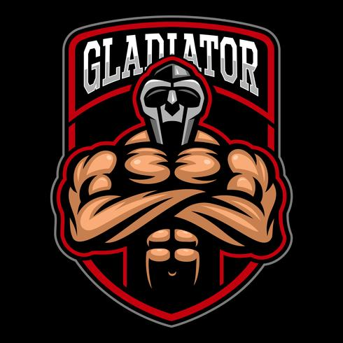 Design de logotipo de gladiador. vetor
