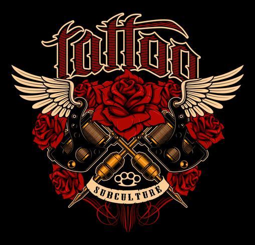 Desenho de tatuagem. Gráfico da camisa com as máquinas e as rosas da tatuagem da velha escola. vetor