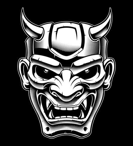 máscara de demônio japonês (versão preto e branco) vetor