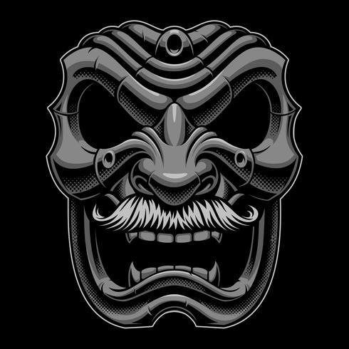Máscara samurai com mustahce. vetor