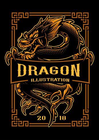 Design de t-shirt de dragão vetor