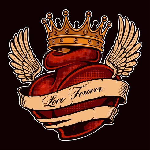 Tatuagem chicano coração (versão colorida) vetor