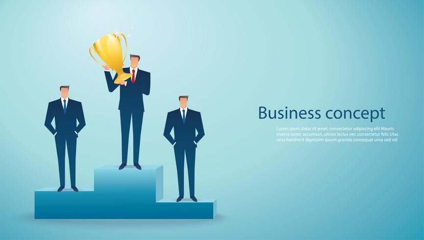 empresário segurar o vencedor de sucesso do troféu de ouro. conceito de negócios vetor