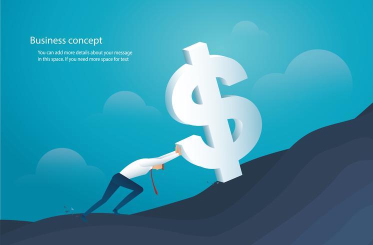 homem empurre o grande dólar para o sucesso vetor
