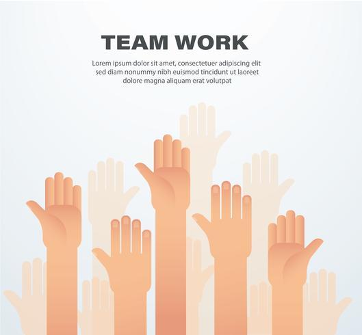 Levantou as mãos. conceito de trabalho em equipe. fundo vetor