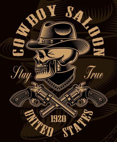 Ilustração a preto e branco do crânio de cowboy com armas de fogo cruzadas vetor