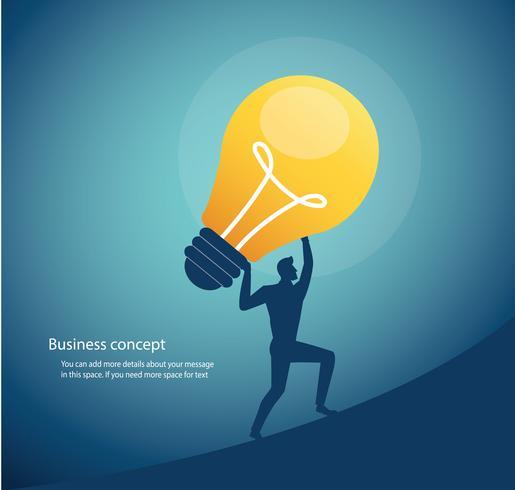 empresário carregando lâmpada. conceito de pensamento criativo vetor