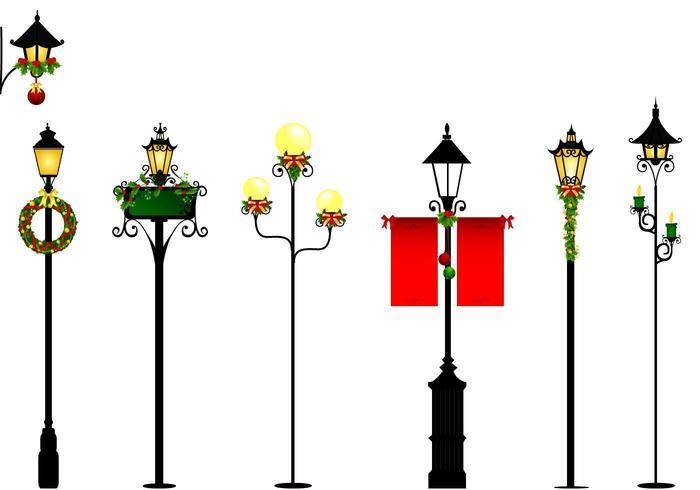 Pacote de vetores de luz de rua de Natal