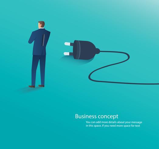 empresário de pé com plugue elétrico nas costas, conectar-se a ilustração vetorial de idéia vetor