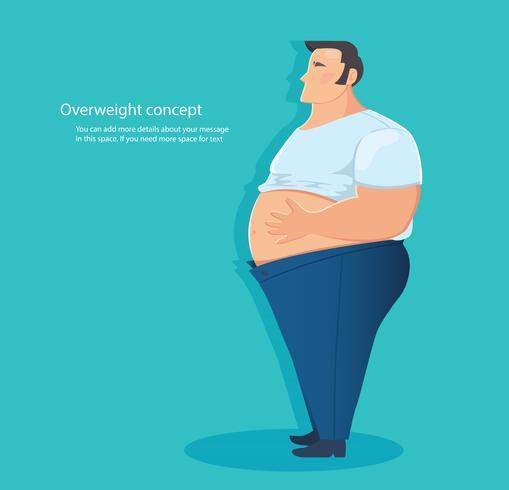 conceito de excesso de peso, ilustração vetorial de gordura da barriga vetor