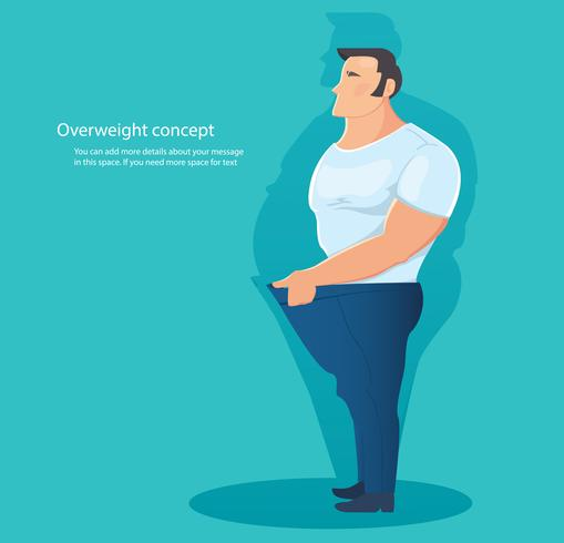 conceito de caráter com excesso de peso, ilustração em vetor gordura barriga