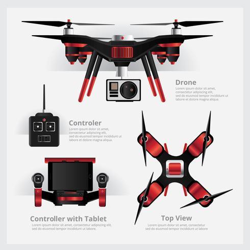 Drone com câmera VDO e ilustração vetorial de controlador vetor