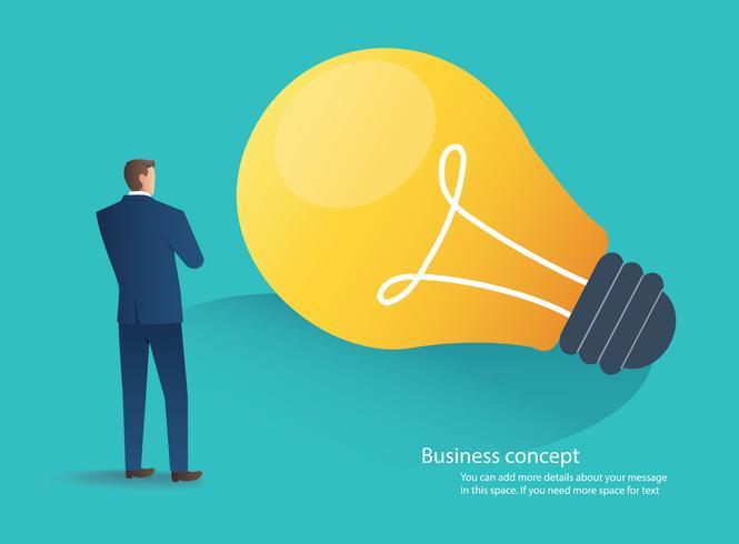 homem de negócios permanente com ilustração em vetor conceito idéia lâmpada