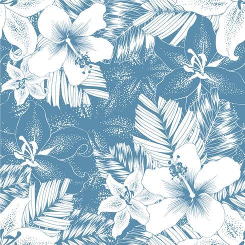 Sem costura padrão botânica repetir lilly branco, flores de hibisco em fundo abstrato azul. Doodle de desenho drawning ilustração vetor. Para design de papel de parede usado, tecido têxtil ou papel de embrulho vetor