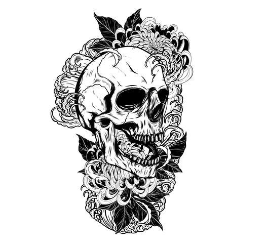 Crânio com tatuagem de crisântemo por desenho de mão vetor