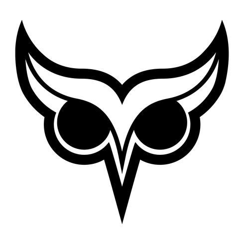 Logotipo do pássaro da coruja com olhos grandes e sobrancelhas no vetor preto