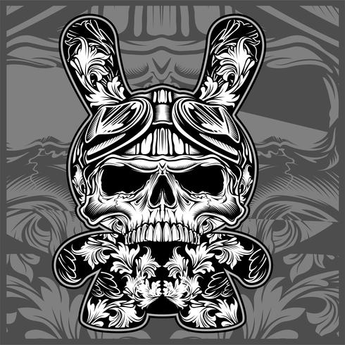 Crânios ornamentais florais, desenho vetorial de mão vetor