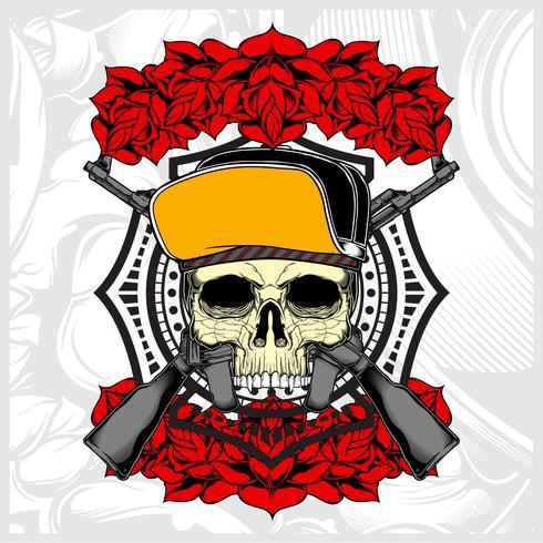crânio usando chapéu e arma com rosa vetor