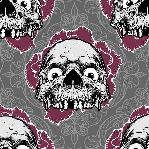 ornamento de crânio padrão com rosa, vetor