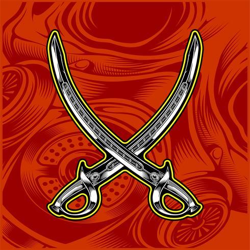 vetor de desenho de mão de espada cruzada