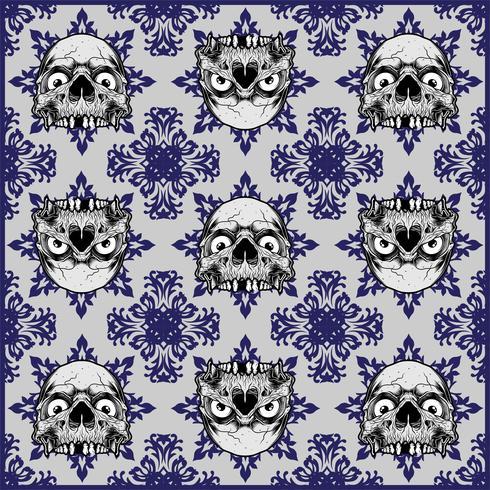 padrão sem emenda de caveira ornamentais - vetor