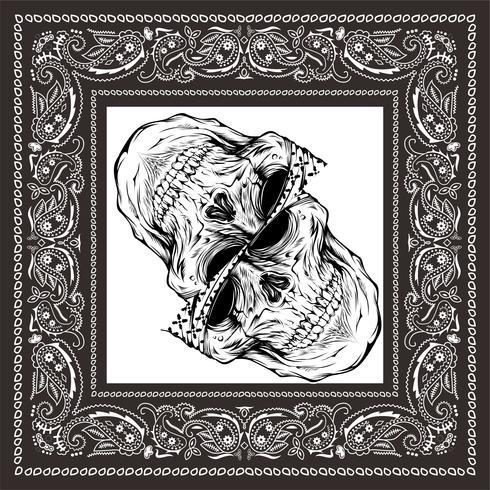 bandana crânio preto branco vetor
