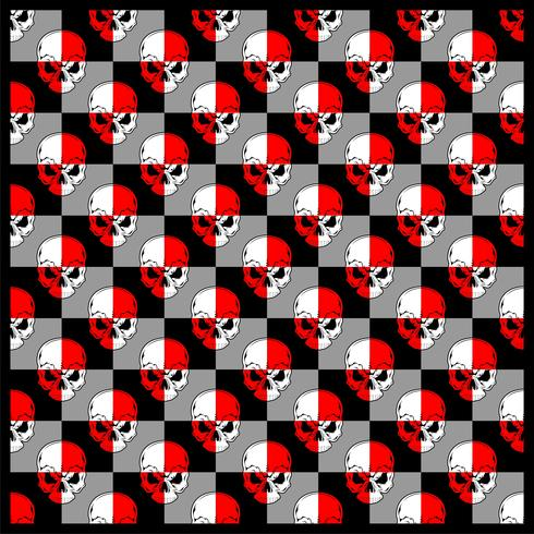 padrão caveira vermelho branco vetor