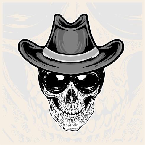 cabeça de caveira usando óculos e chapéus de cowboy vetor