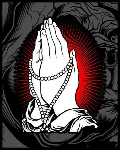 mão rezar vetor