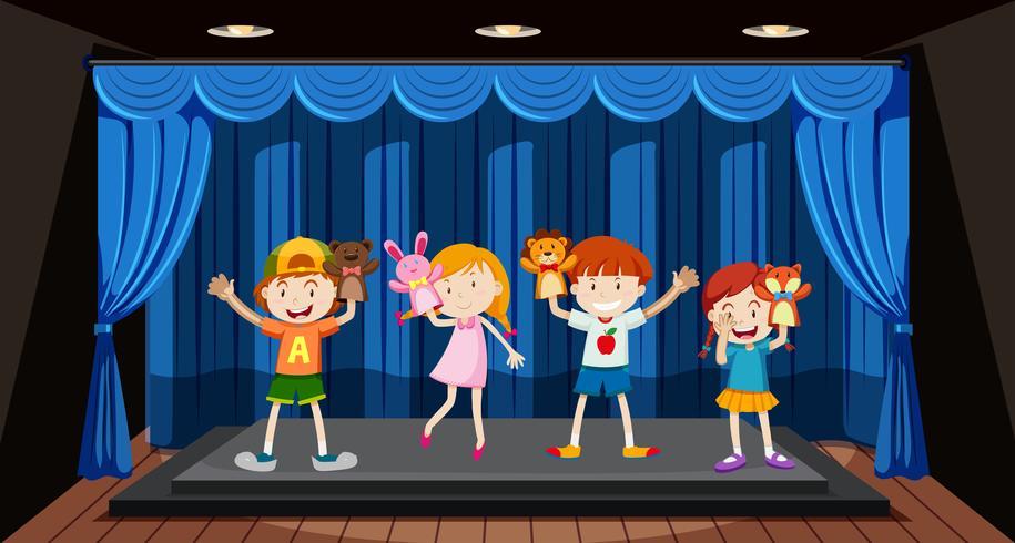 As crianças brincam fantoche de mão no palco vetor