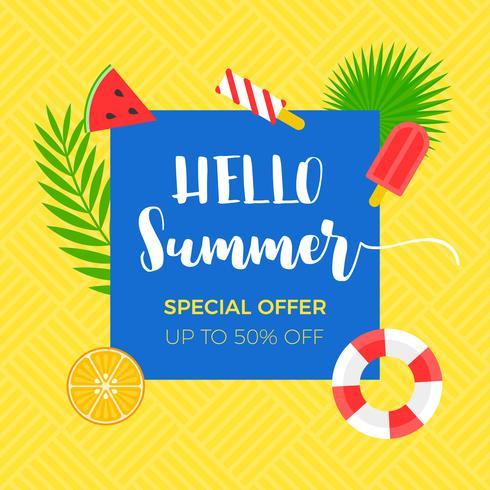 Banner de venda de verão com objeto relacionado de verão vetor