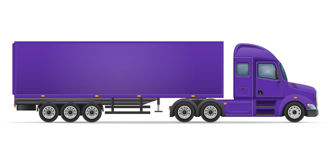 caminhão semi reboque para transporte de ilustração vetorial de mercadorias vetor
