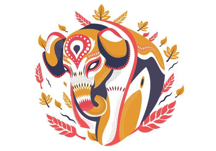 Ilustração em vetor decorativo abstrato elefante pintado