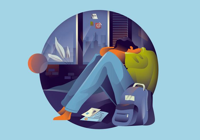 Ilustração em vetor de saúde mental de depressão adolescente