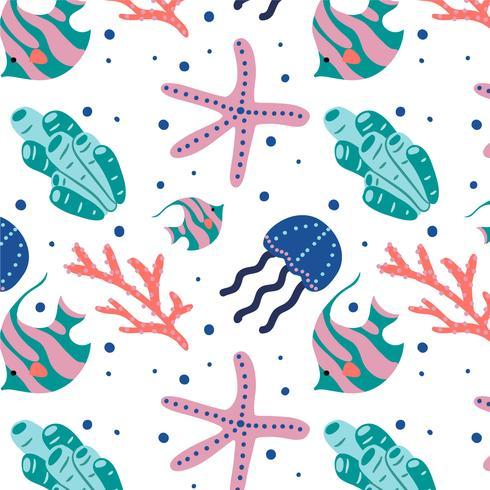 Vector bonito padrão de mar coral