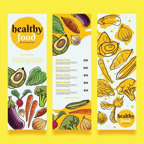 Design de vetor de Menu de comida saudável