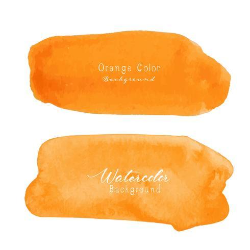 Aquarela de traçado de pincel laranja em fundo branco. Ilustração vetorial vetor