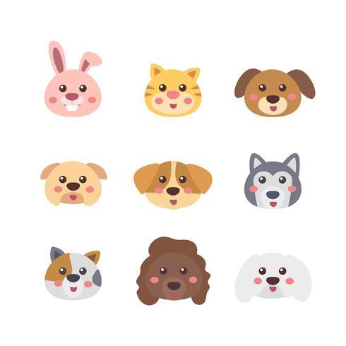 Conjunto de rostos de animais de estimação vetor