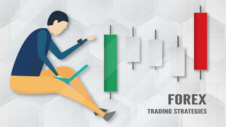Conceito de estratégia de negociação Forex em papel cortado e artesanato para negócios, comerciante, investimento, marketing. Vector a ilustração no bacgkround abstrato da tecnologia em branco e em cinzento.
