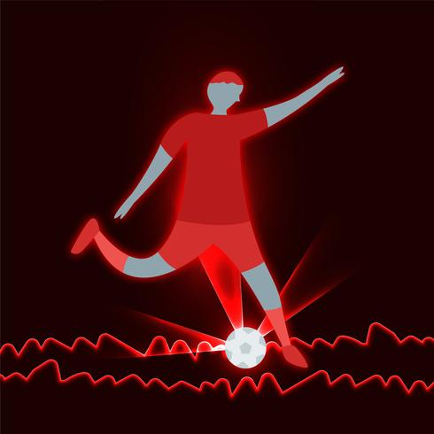 O homem chuta a bola no fundo vermelho. vetor