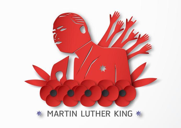 Tailândia, Udonthani - 16 de janeiro de 2019: Feliz dia de Martin Luther King Jr. com corte de papel e estilo ofício. Ilustração vetorial para plano de fundo, banner, cartaz, publicidade, cartão de convite e modelo. vetor