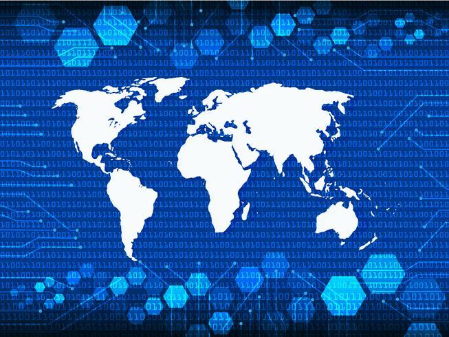 Mapa de atlas do mundo azul Cyber Security com sombra vetor