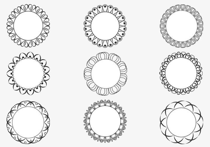 Pacote vetorial decorativo de quadro circular vetor
